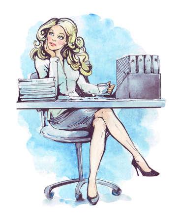 pretty  businesswoman bored in office watercolor Stock fotó