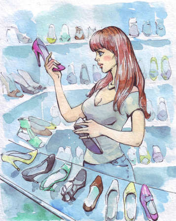 woman choosing shoes in store watercolor illustration Stock Photo