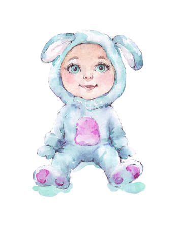 baby wearing bunny costume watercolor illustration