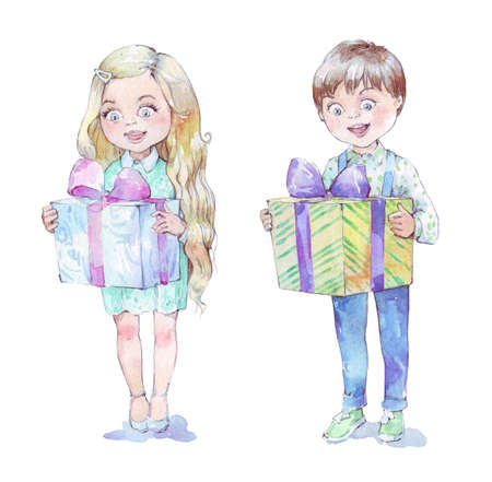 happy kid holding gift watercolor illustration