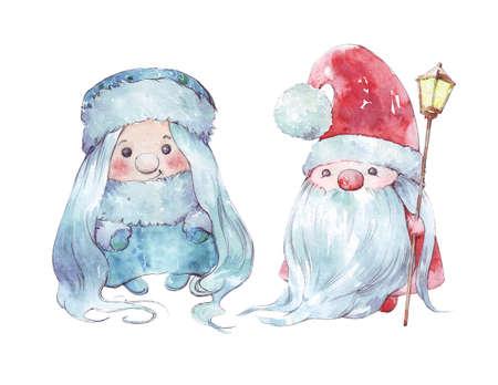 cartoon watercolor santa claus and snow maiden Stock fotó