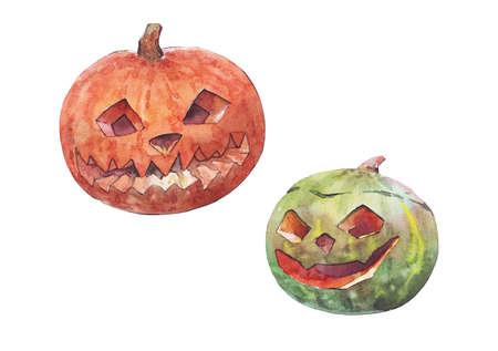 halloween pumpkin watercolor isolated illustration