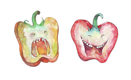 screaming pepper and smiling pepper watercolor illustration