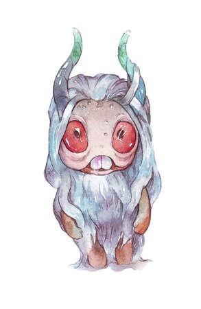 cute cartoon watercolor monster illustration