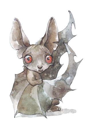 cute little monster bat watercolor illustration Фото со стока