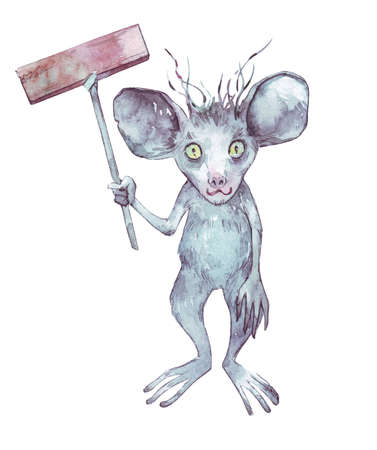 funny watercolor scary cartoon monster
