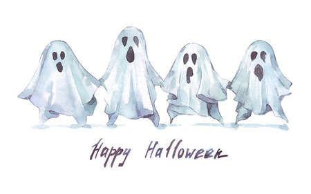 mystery funny ghosts watercolor illustration isolated
