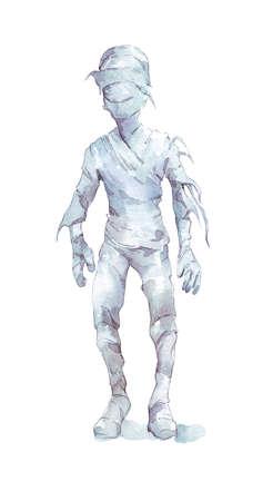 spooky halloween mummy man watercolor illustration