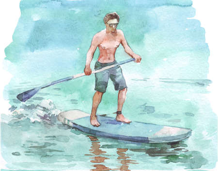 man on supboard watercolor illustration hand painted