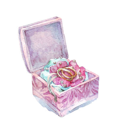 wedding rings in a decorative box watercolor Banque d'images - 131592085
