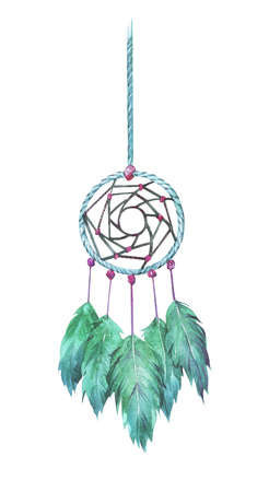 dreamcatcher with green feathers watercolor illustration