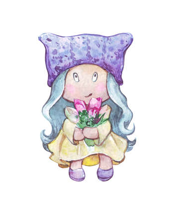 textile cartoon doll with flowers watercolor art