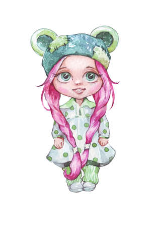 cartoon doll in dress isolated watercolor art