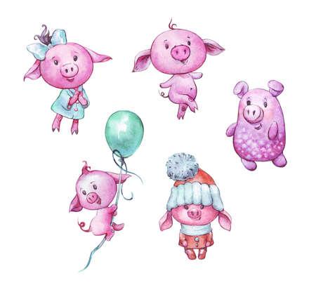 set of cartoon cute pigs watercolor art