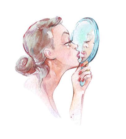 girl kissing mirror reflection watercolor art Imagens