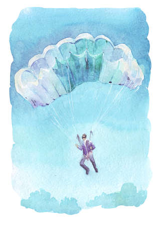 man flying with parachute watercolor art