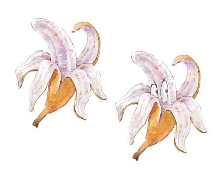 half peeled anthropomorphic banana watercolor art