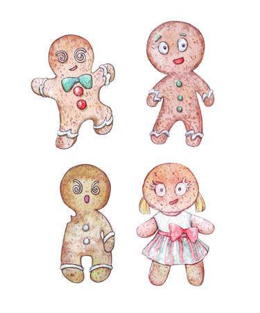 set of gingerbread men watercolor art isolated on white