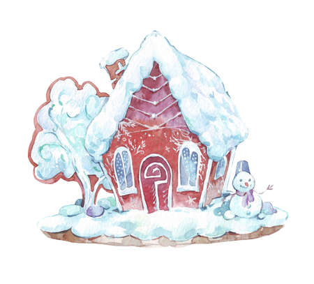 gingerbread house watercolor art isolated