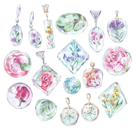 set of epoxy resin accessories watercolor art
