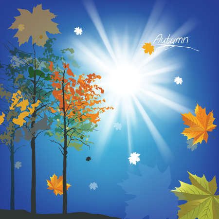 The illustration of autumn with fallen leaves Stock Vector - 25508733