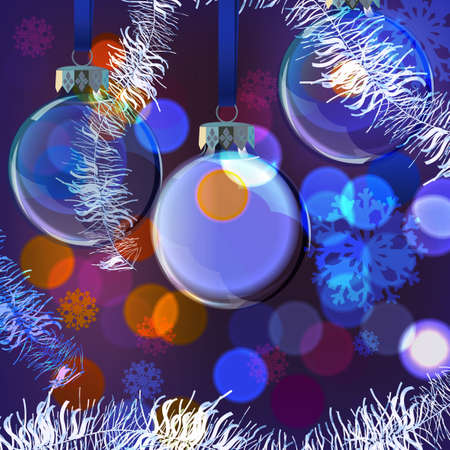 Vector illustration of Christmas Balls on blurred lights