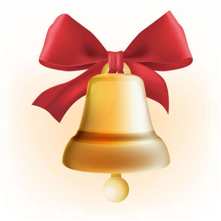 The illustration of  beautiful golden bell. Vector Image.