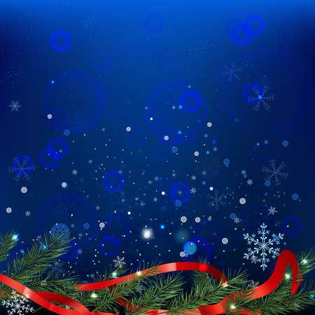 The illustration of snow fir-tree background. Vector image.  Illustration