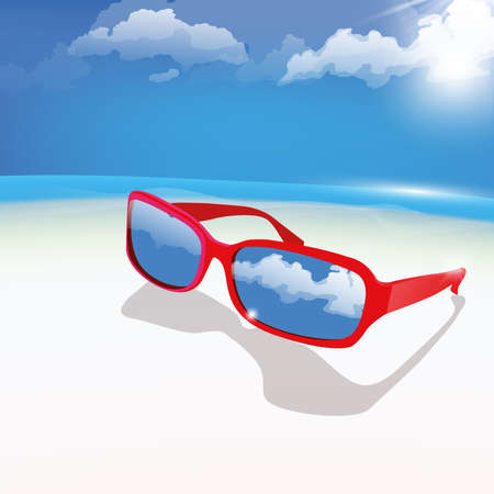The illustration of  beautiful glasses on the seashore Stock Vector - 25467891