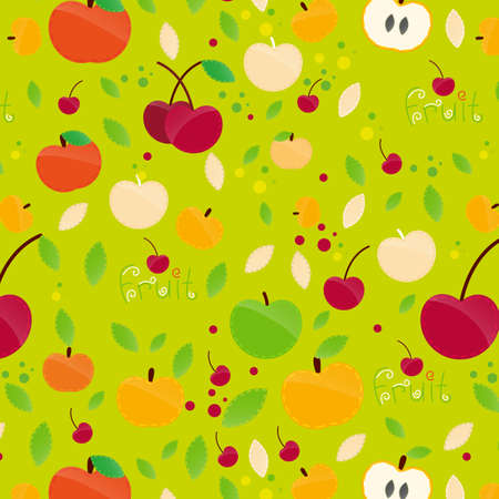 The illustration of colorful fruit pattern . Vector image.