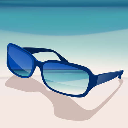 The illustration of beautiful seashore background. Vector image.