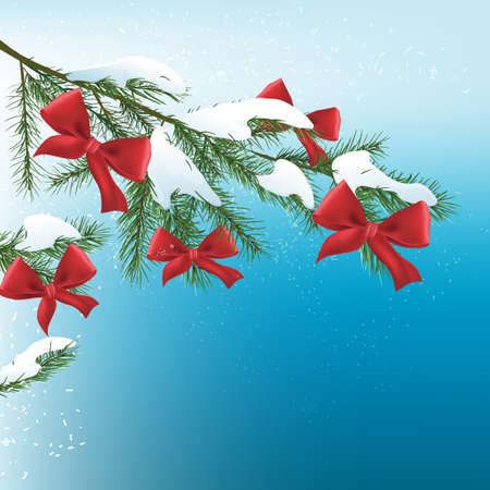 Vector illustration of christmas tree branch with bows