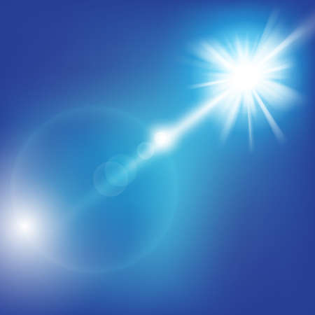 Sky decorative background with shining sun and blue sky