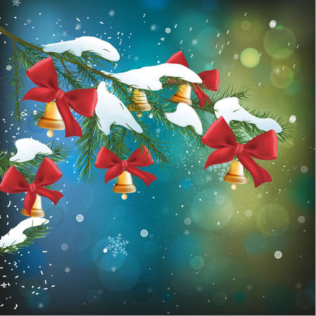 Vector illustration of christmas tree branch with bows and bells