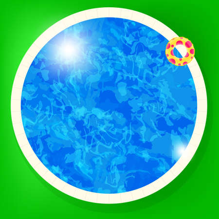 Vector swimming pool water background with lifebuoy  Vector