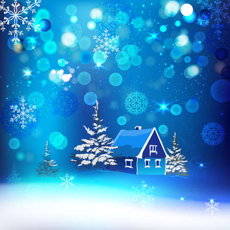 Vector winter background with beautiful various snowflakes and fir-tree branch