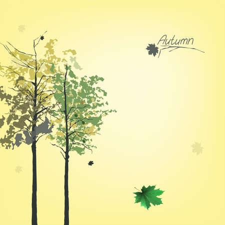 fallen: The illustration of autumn background with fallen leaves Illustration