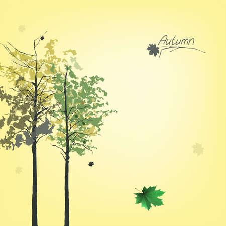 aspen tree: The illustration of autumn background with fallen leaves Illustration