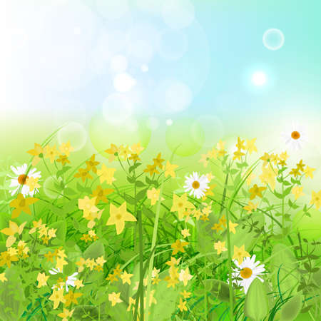 The illustration of  beautiful green grass with flowers