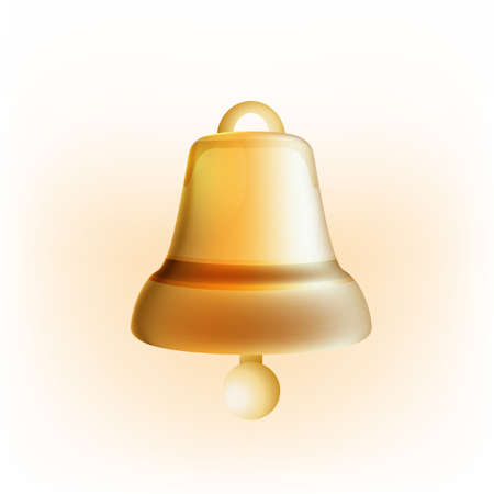 church bell: The illustration of  beautiful golden bell. Vector Image.