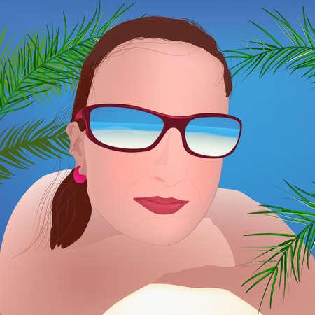 polarized: The illustration of  beautiful girl in sun glasses