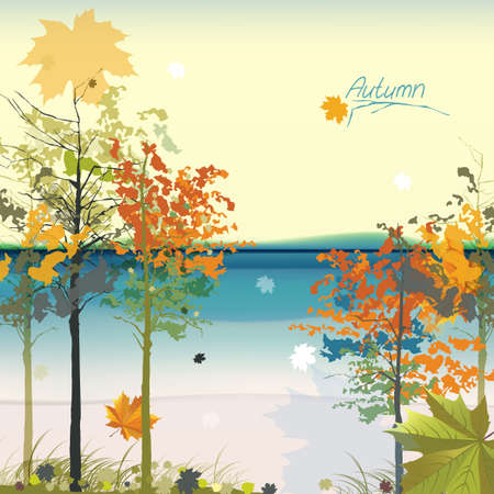 The illustration of autumn background with fallen leaves Stock Vector - 25468242