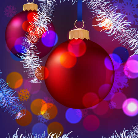 blurred lights: Vector illustration of Christmas Balls on blurred lights