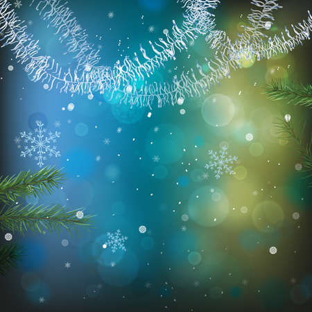 The illustration of  beautiful bokeh Christmas background. Vector image. Vector