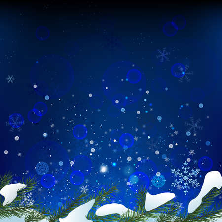 The illustration of snow fir-tree background. Vector image.  Vector