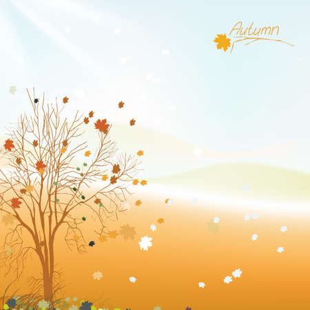 The illustration of autumn background with fallen leaves Vector