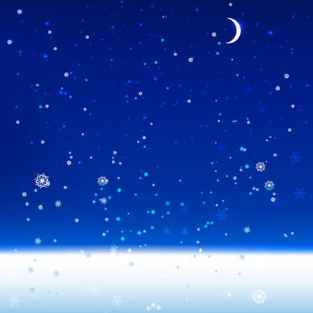 The illustration of snow landscape Background. Vector image.  Vector