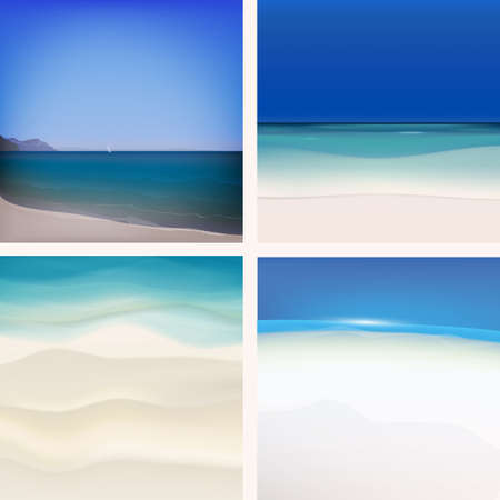 sand asia: The illustration of beautiful sea backgrounds. Vector set.