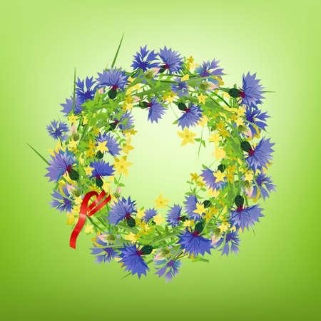 garden cornflowers: The illustration of fresh cornflower garland. Vector Image. Illustration