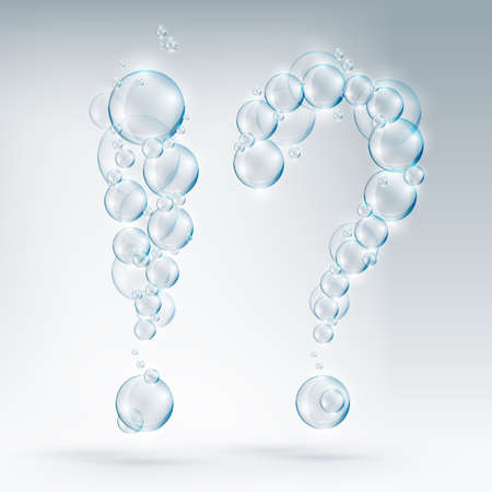 exclamation and question of soap bubbles